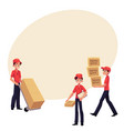 young man working as courier delivering goods vector image