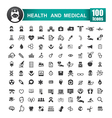 Set of 100 icon of health and medical 001 vector image