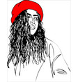young woman on red beret one line design vector image