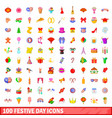 100 festive day icons set cartoon style vector image vector image