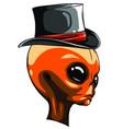 alien head cowboy hat logo vector image vector image