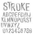 alphabet font black stroke design vector image vector image