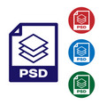 blue psd file document icon download psd button vector image vector image
