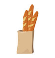 bread in a paper bag loaf baguette vector image