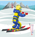 cartoon boy in suit learning to ski on holiday vector image vector image