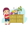 cartoon little girl dusting cabinet vector image