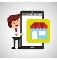 cartoon man smartphone app shopping vector image