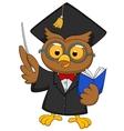 Cartoon Owl wearing a graduation uniform giving a vector image