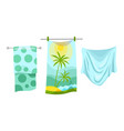 collection bath towels cartoon textile cloth vector image