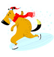 dog is skating christmas and new year pet vector image vector image