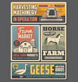 farming agriculture industry farm animals vector image
