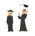 flat girl boy graduate in gown cap vector image vector image