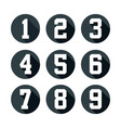 flat number icon set vector image vector image