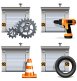 garage with tools and spares vector image