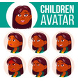 girl avatar set kid primary school indian vector image vector image