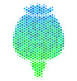 halftone blue-green opium poppy icon vector image