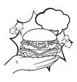 hand holding hamburger black and white vector image