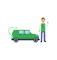 happy man seller cartoon character standing with vector image vector image