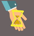 hourglass in hand time is money concept save vector image vector image