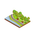 isometric public city park section with benches vector image