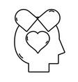 line silhouette man inside pills love treatment vector image vector image