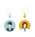 Mans and womans avatars with lighting bulb idea vector image
