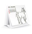 November 2014 desk horse calendar vector image vector image