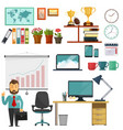 Office elements collection Business education set vector image vector image