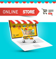 online store design with cart and items icons on vector image vector image