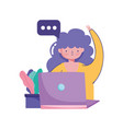 people creativity and technologygirl with laptop vector image vector image