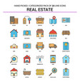 real estate flat line icon set - business concept vector image