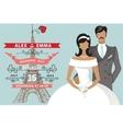 Retro Wedding invitationFlat bridegroomEiffel vector image vector image