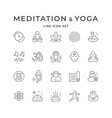 set line icons meditation and yoga vector image