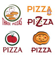 set of pizzas emblems concept design template vector image vector image