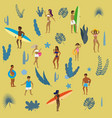 set people at beach or seashore relaxing and vector image