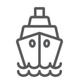 ship line icon cruise and sail boat sign vector image vector image