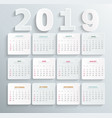 simple calendar for 2019 year vector image vector image