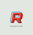 stunning letter r with 3d color contour vector image