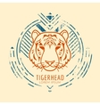 Tiger head logo in frame vector image vector image