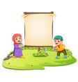 two children are standing in green garden vector image vector image