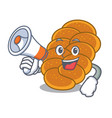 with megaphone challah character cartoon style vector image vector image