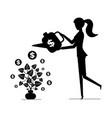 woman watering money plant gaining money concept vector image vector image