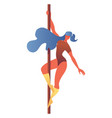 young girl doing pole dancing aerobics isolated vector image vector image