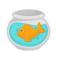 fish in aquarium cartoon pet flat icon vector image