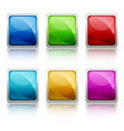 Set of colourful square glass botton vector image