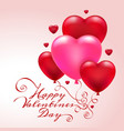 3d heart balloons valentine card vector image