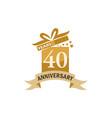 40 years gift box ribbon anniversary vector image vector image