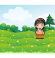 A girl with a basket at the hill vector image vector image