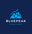 blue peak investment arrow graph ice berg mount vector image