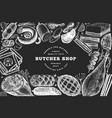 butcher shop hand drawn banner template retro vector image vector image